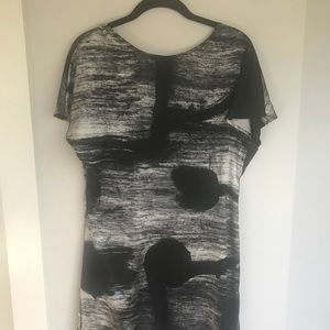 Silk dress black and white and gray abstract